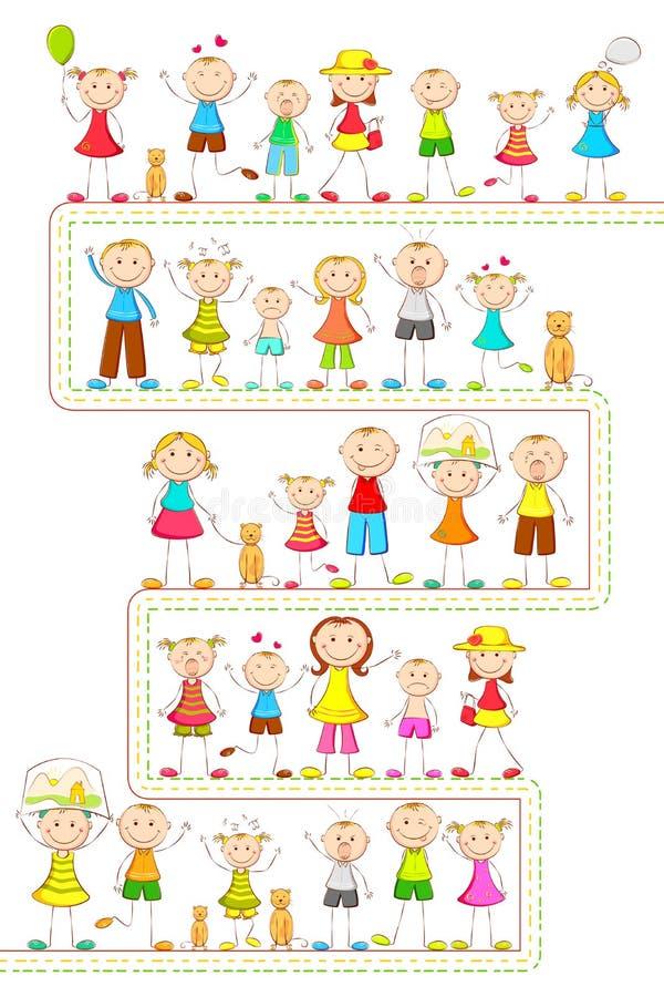 Miúdos no modo diferente ilustração royalty free