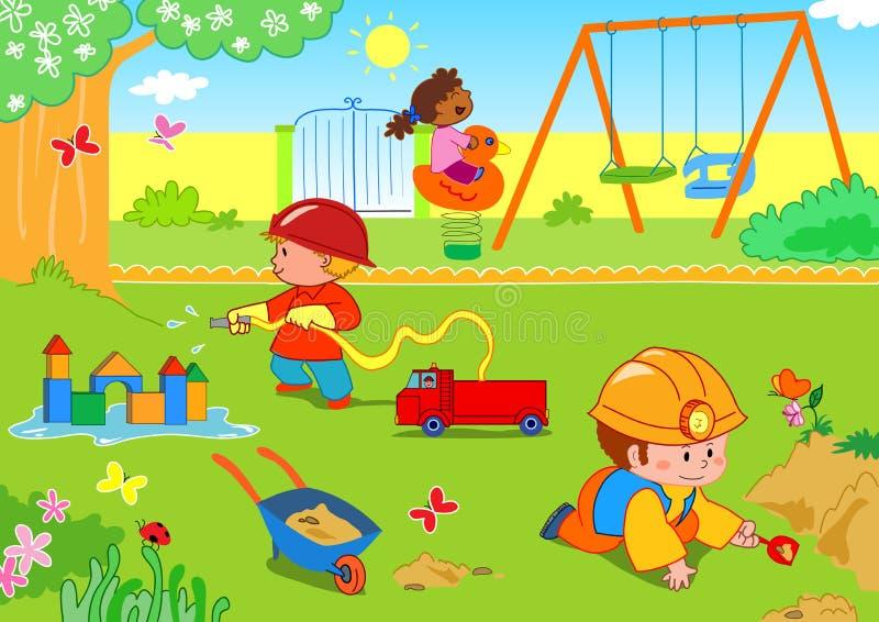 Miúdos no parque ilustração do vetor