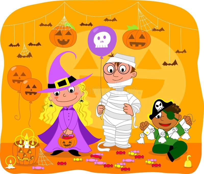 Miúdos no partido de Halloween ilustração stock