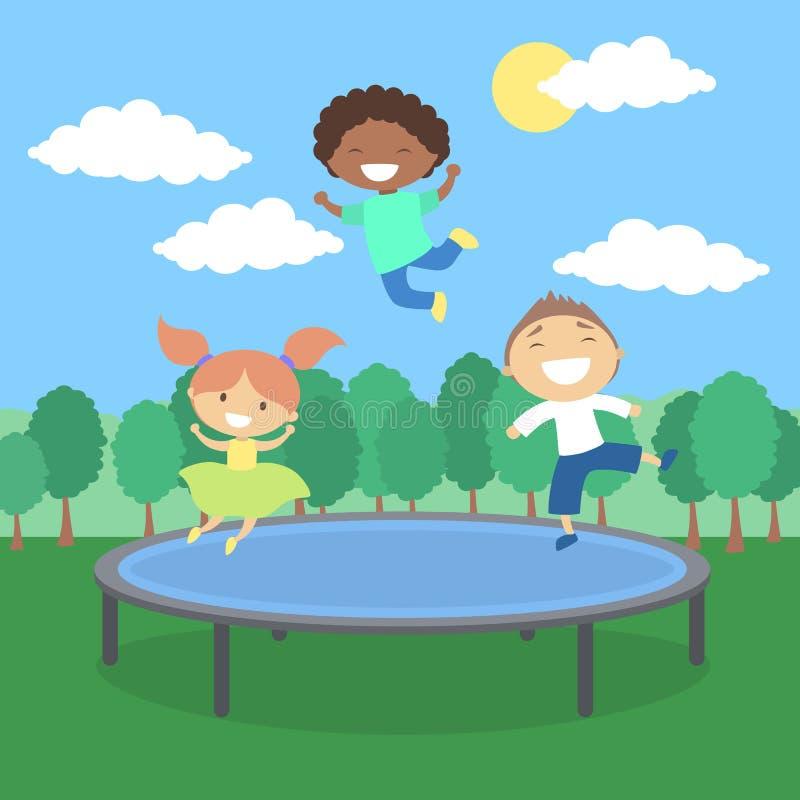 Miúdos no Trampoline ilustração stock