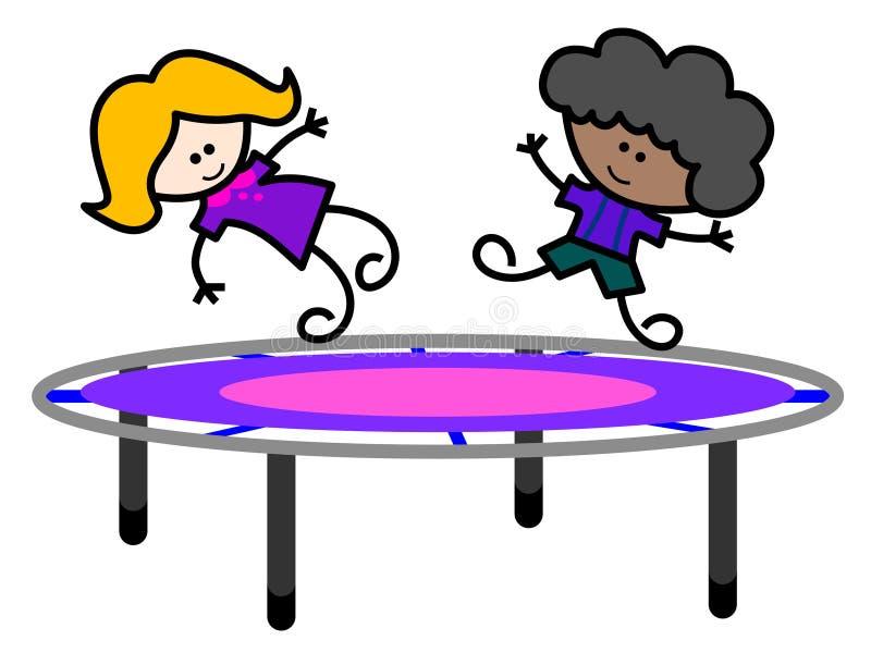 Miúdos no trampoline ilustração do vetor