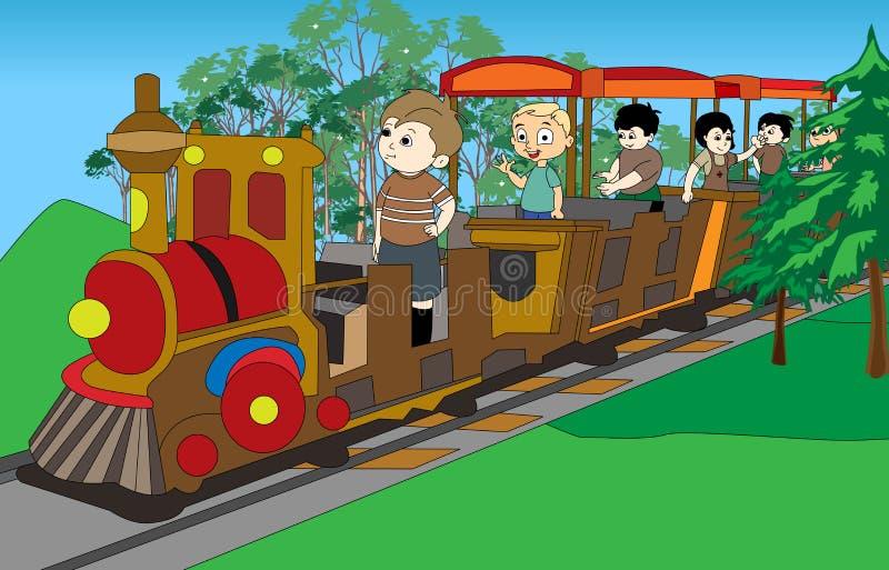 Miúdos no trem ilustração do vetor