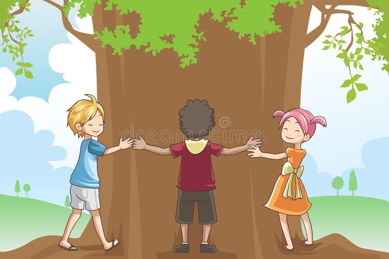 Miúdos que abraçam a árvore ilustração royalty free