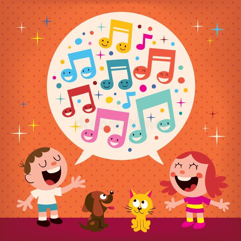 Miúdos que cantam ilustração royalty free