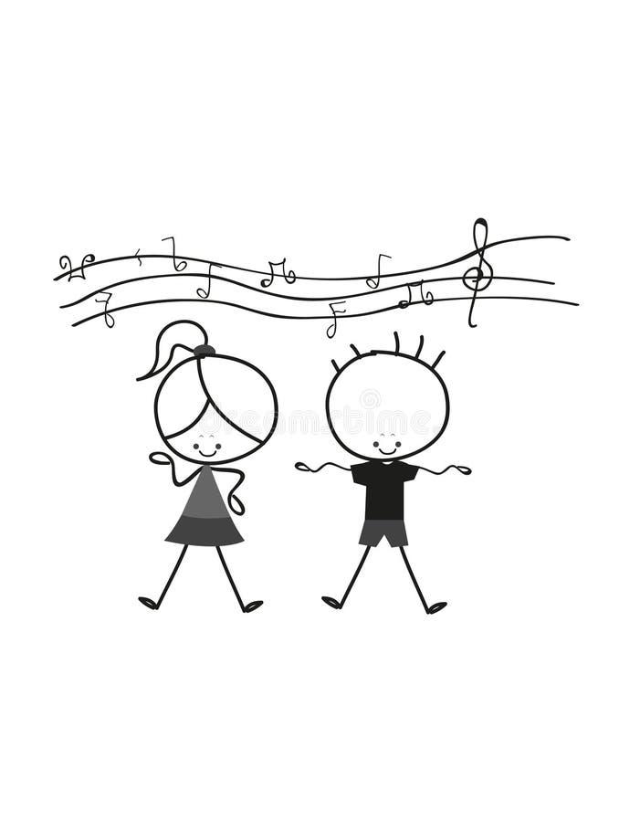 Miúdos que cantam ilustração stock
