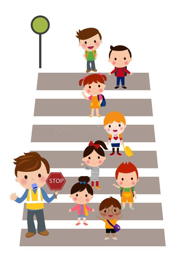 Miúdos que cruzam a rua ilustração royalty free