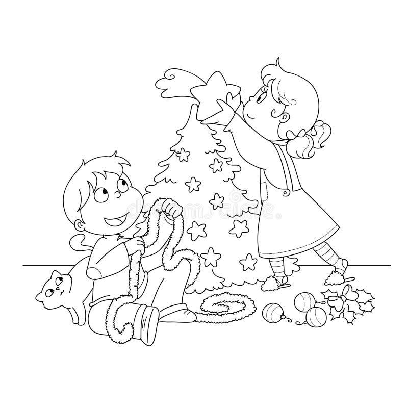 Miúdos que decoram uma árvore do xmas ilustração stock