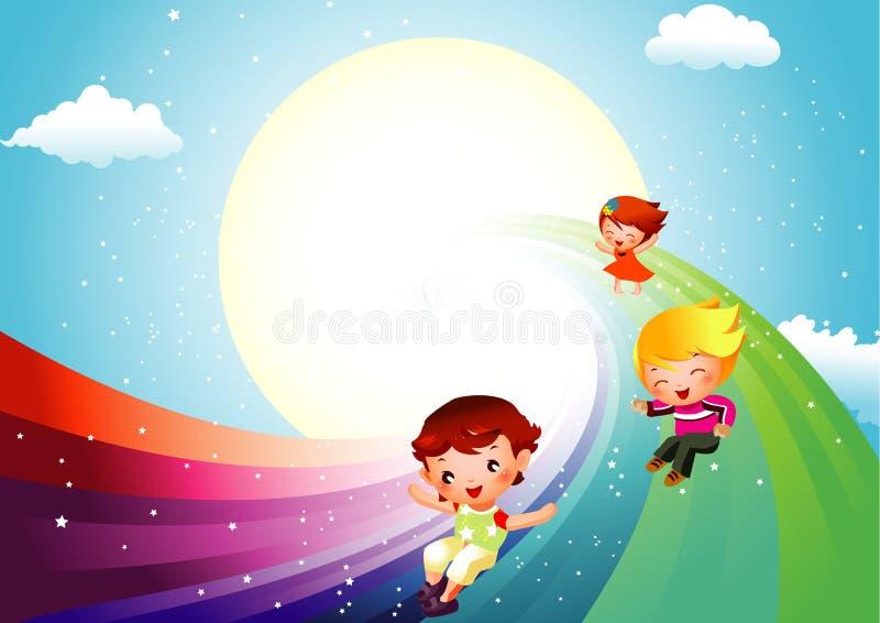 Miúdos que deslizam no arco-íris ilustração royalty free
