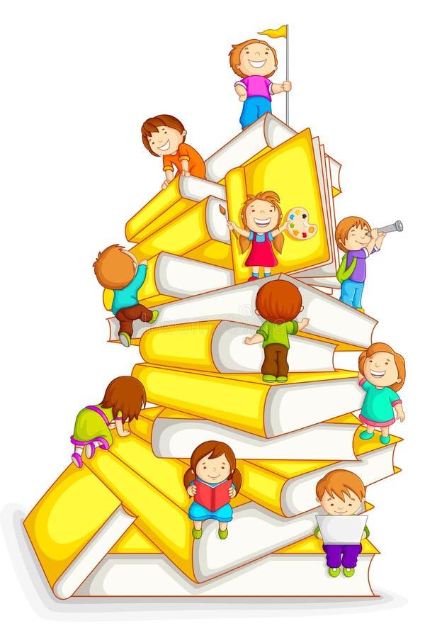Miúdos que escalam na pilha de livro ilustração do vetor