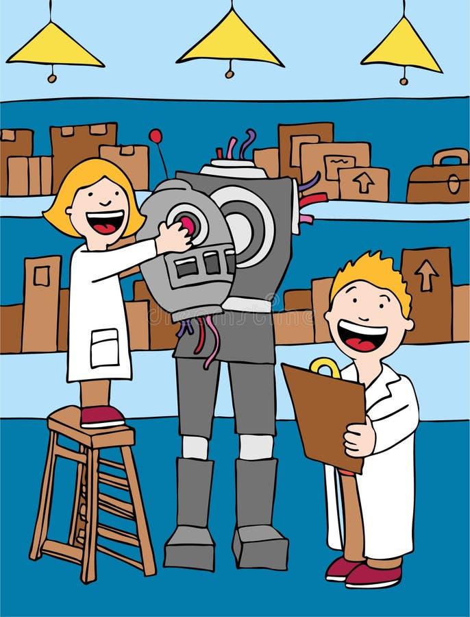 Miúdos que fazem o robô ilustração royalty free