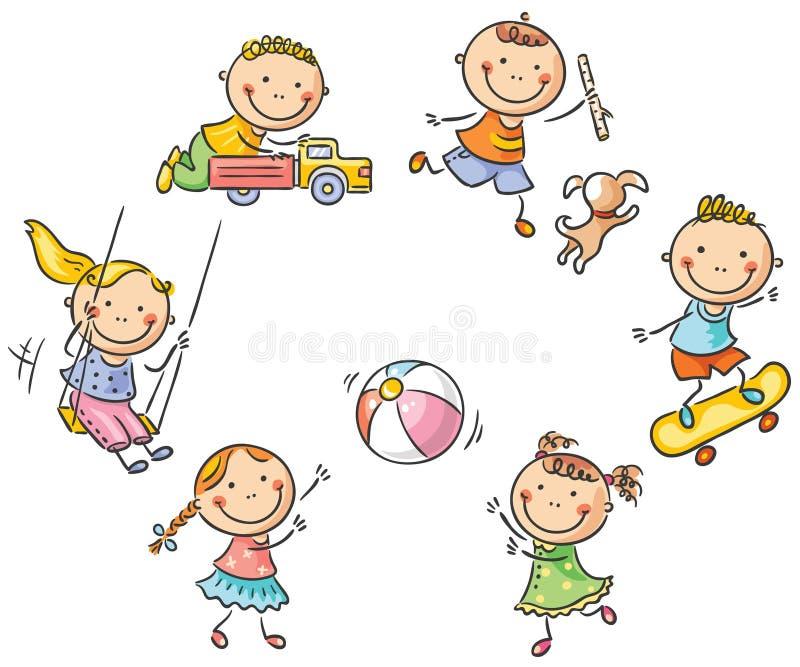 Miúdos que jogam ao ar livre ilustração do vetor
