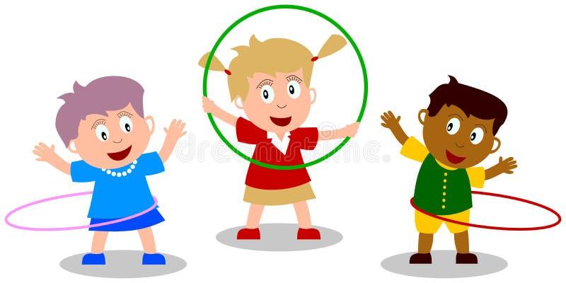 Miúdos que jogam - aro de Hula ilustração royalty free