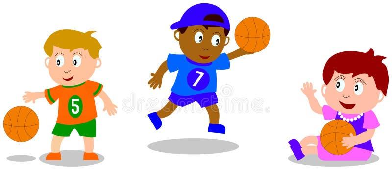 Miúdos que jogam - basquetebol ilustração royalty free