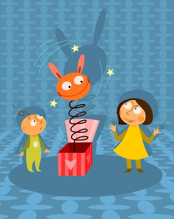 Miúdos que jogam com brinquedo do jack-in-the-box ilustração royalty free
