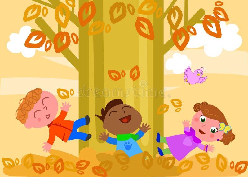 Miúdos que jogam com folhas ilustração royalty free
