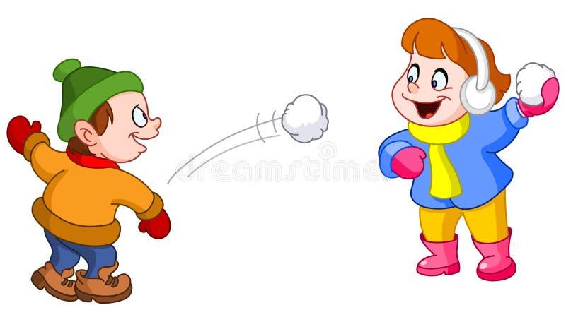 Miúdos que jogam com neve ilustração stock