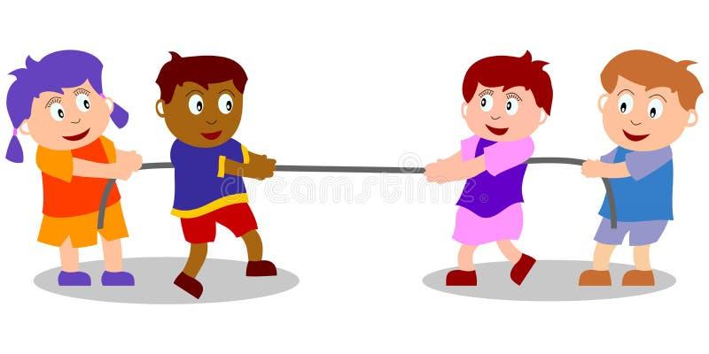 Miúdos que jogam - conflito ilustração royalty free