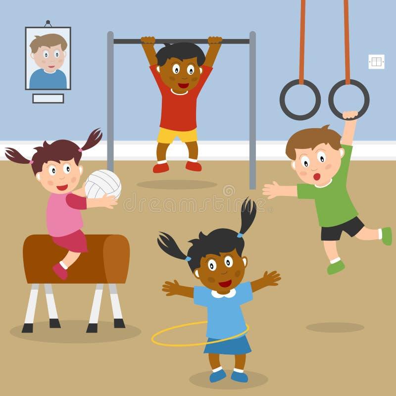 Miúdos que jogam na ginástica da escola ilustração do vetor