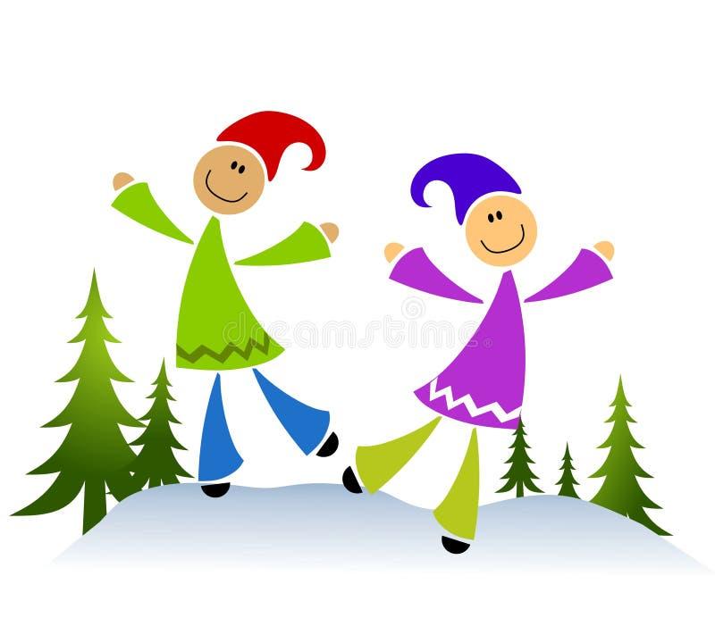 Miúdos que jogam na neve ilustração do vetor