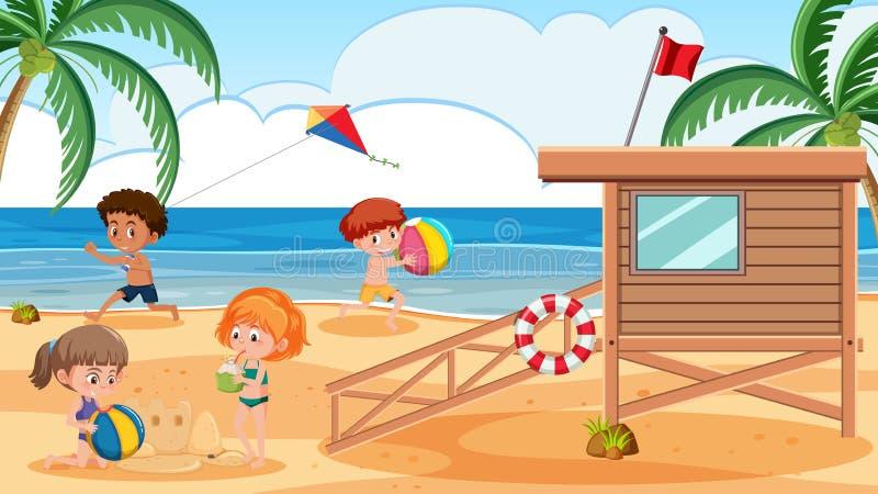 Miúdos que jogam na praia ilustração do vetor