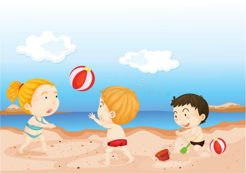 Miúdos que jogam na praia ilustração royalty free