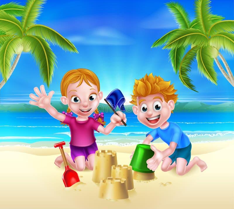 Miúdos que jogam na praia ilustração stock