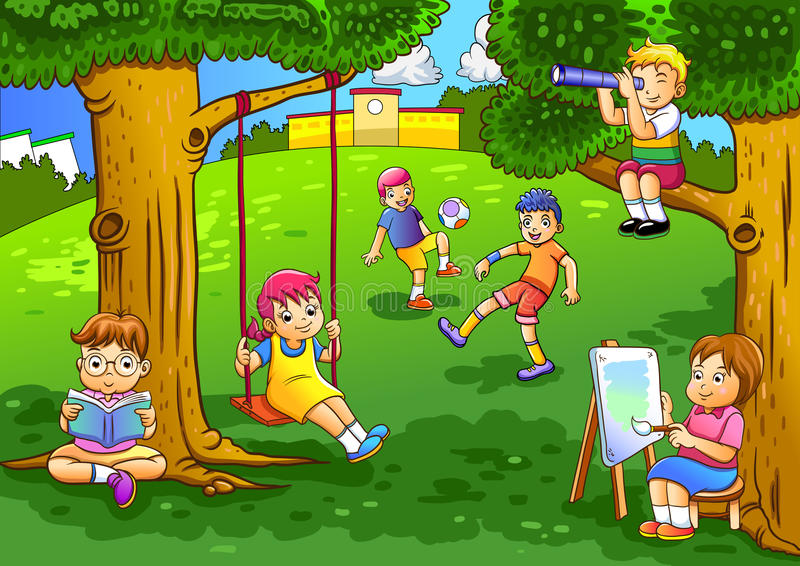 Miúdos que jogam no jardim ilustração do vetor