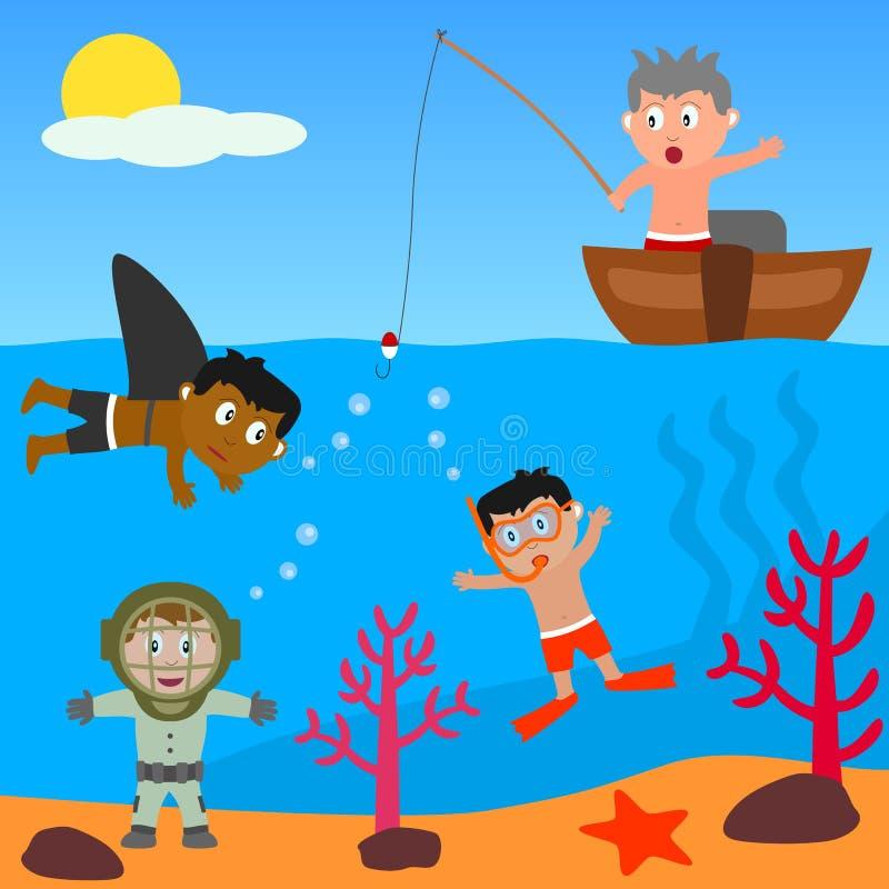 Miúdos que jogam no mar ilustração do vetor