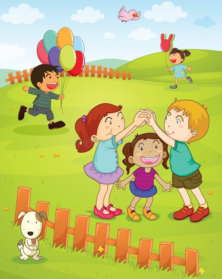 Miúdos que jogam no parque ilustração do vetor