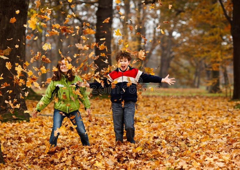 Miúdos que jogam no parque do outono foto de stock royalty free