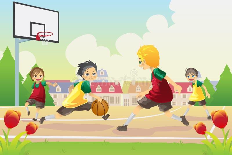 Miúdos que jogam o basquetebol ilustração royalty free