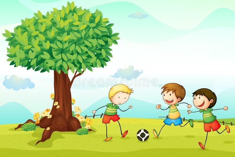 Miúdos que jogam o futebol ilustração stock