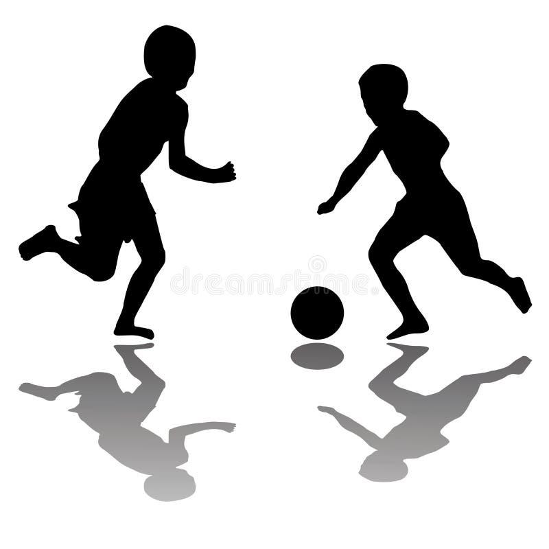 Miúdos que jogam o futebol isolado no branco ilustração stock