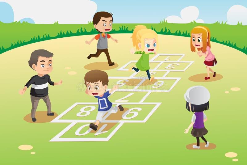 Miúdos que jogam o hopscotch ilustração do vetor