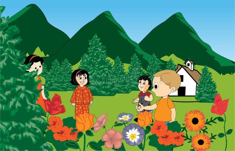 Miúdos que jogam o parque ilustração royalty free