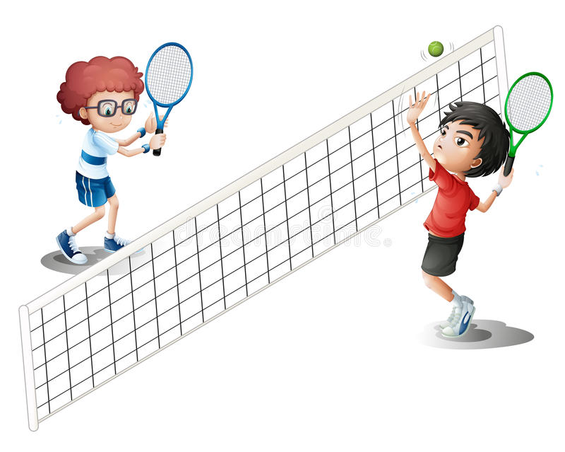Miúdos que jogam o tênis ilustração do vetor
