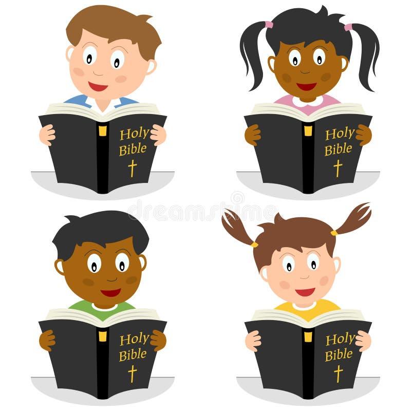 Miúdos que lêem a Bíblia santamente ilustração royalty free