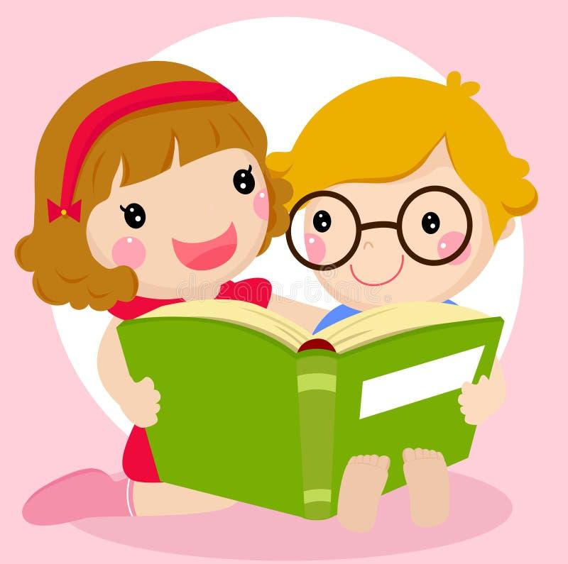 Miúdos que lêem um livro ilustração royalty free