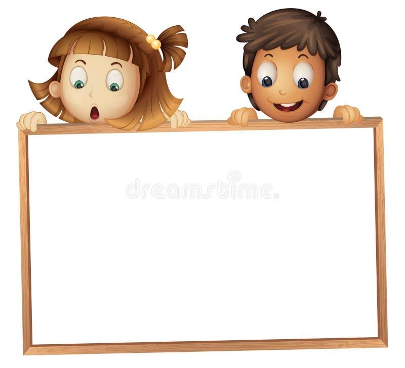 Miúdos que mostram a placa ilustração royalty free