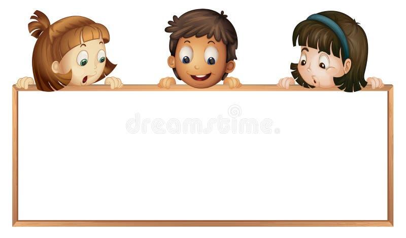 Miúdos que mostram a placa ilustração stock