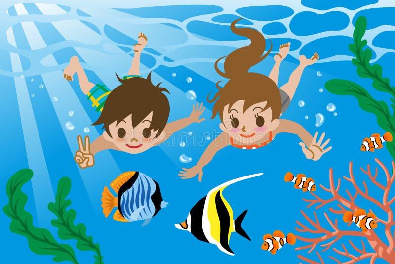 Miúdos que nadam debaixo d'água ilustração do vetor