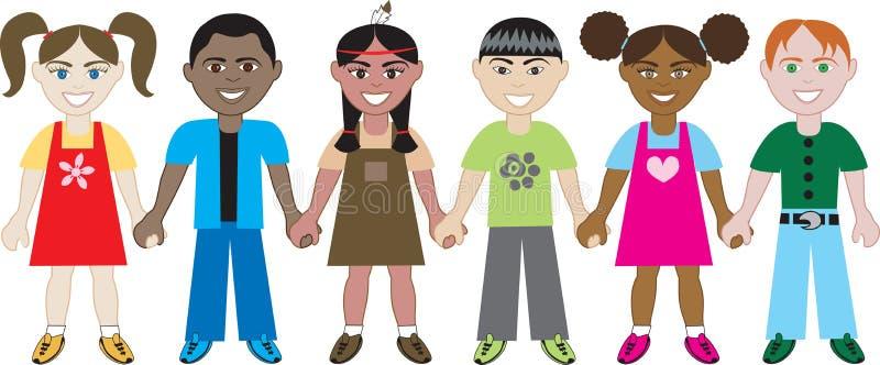 Miúdos que prendem as mãos 1 ilustração do vetor