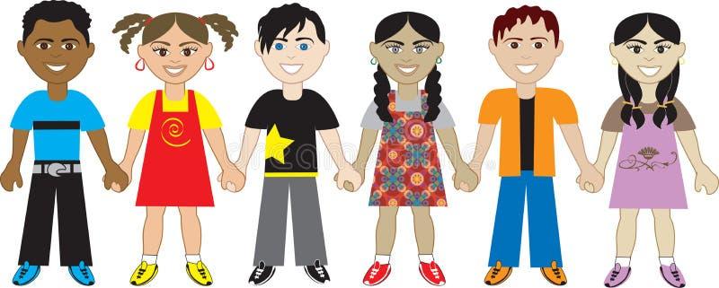 Miúdos que prendem as mãos 5 ilustração royalty free