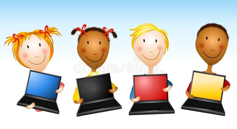Miúdos que prendem computadores portáteis ilustração royalty free