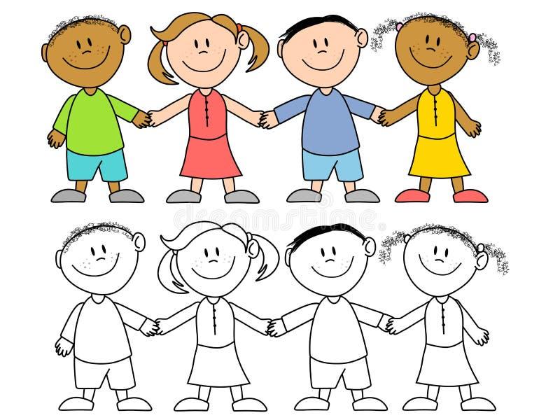 Miúdos que prendem o grupo das mãos ilustração stock
