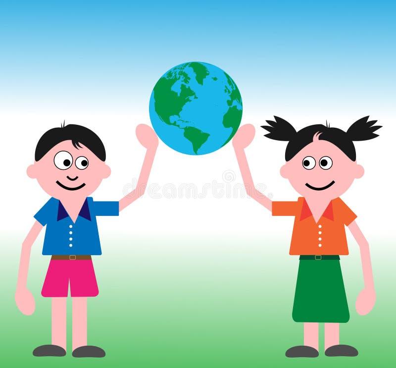 Miúdos que seguram o globo ilustração do vetor