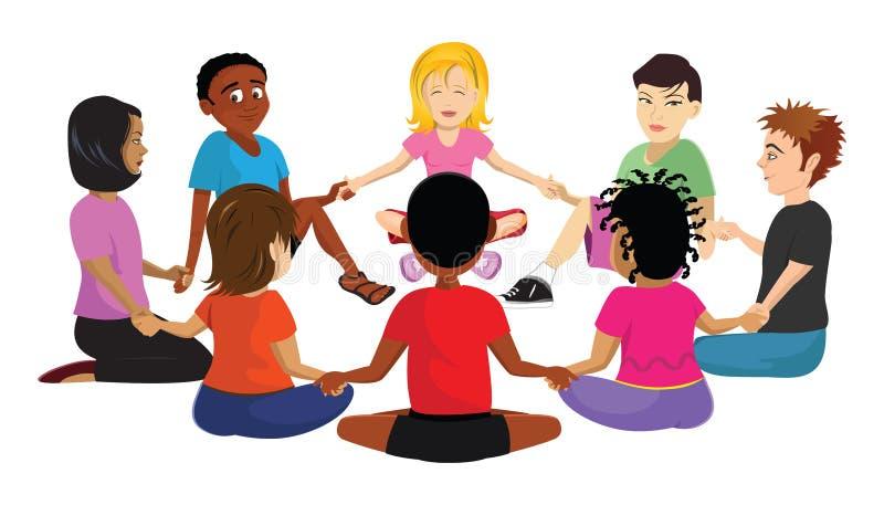 Miúdos que sentam o círculo ilustração royalty free