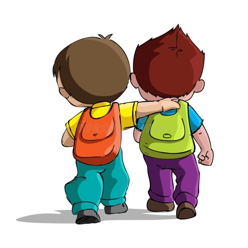 Miúdos que vão à escola ilustração royalty free