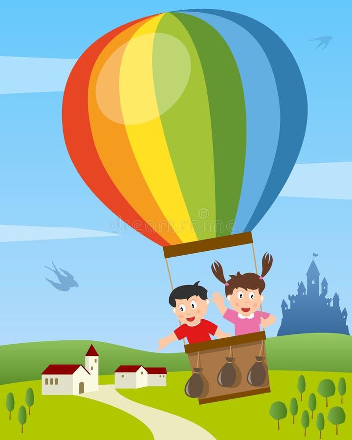 Miúdos que voam no balão de ar quente ilustração stock