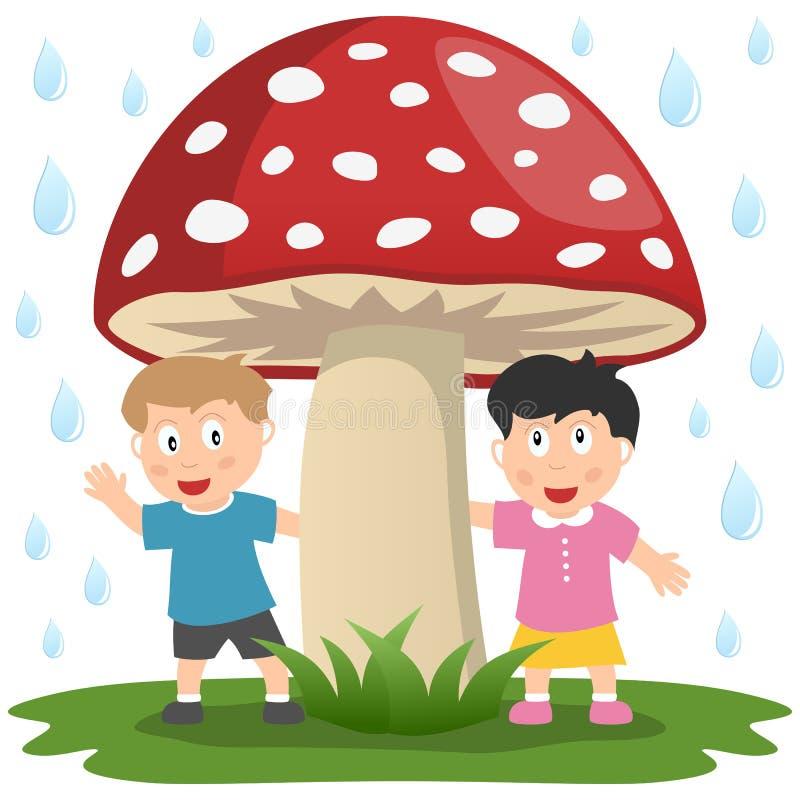 Miúdos sob um cogumelo gigante ilustração stock